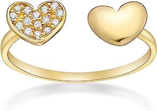Lavari Jewelers 方晶锆石可调节双心形鞋头戒指 10k 黄金 5 MM 宽