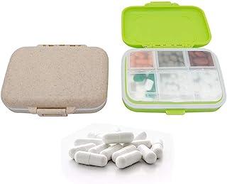 Hoocozi 2 件便携式药丸收纳盒药盒补充盒 - 6 个隔层旅行药丸收纳盒日常药丸盒可拆卸隔层旅行*携带盒