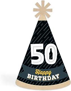 Big Dot of Happiness 欢呼和啤酒到 50 岁 - 圆锥生日快乐派对帽子适合儿童和成人 - 8 件套(标准尺寸)
