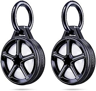 [2 件装] Ztotops 保护套带钥匙圈,用于 AirTag 钥匙查找器,车轮风格支架,*保护,坚固*,不会掉落,Airtag 盒 *2 ,带 2 个钥匙扣,黑色