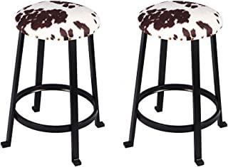 GIA 24 英寸(约 61.9 厘米)台面高圆形金属杆凳,带人造亚麻艾尔郡牛印花,黑色,2 件套