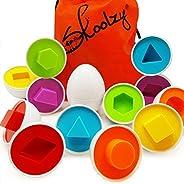 Skoolzy Shapes 幼儿游戏蛋玩具学习颜色和几何形状匹配学龄前玩具拼图适合 2 岁、3 岁、4 岁儿童 - Montessori 精细运动技能分类教育复活节彩蛋和包