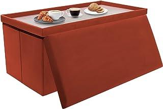 Tiemahun 30 英寸(约 76.2 厘米)折叠存储 Ottoman 天鹅绒面料 咖啡桌和脚凳 适用于客厅、卧室、宿舍和小公寓(咖啡)