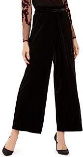 INC International Concepts 女式天鹅绒阔腿柔软纸袋裤,黑色,XL 码