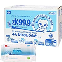 LEC 柔軟型嬰兒用濕巾 80片×20包(1600片)含水分99.9%