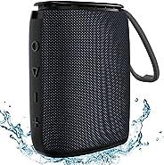 IPX7 防水蓝牙音箱,Hadisala 蓝牙 5.0 便携式无线淋浴音箱,带麦克风和 TF 卡,卓越的低音,TWS 配对 360 环绕声户外音箱,适合运动沙滩旅行