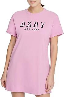 D K N Y 运动阴影标志超大 T 恤连衣裙,Lila L 码