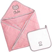 Little Pipers 优质连帽婴儿浴巾 - 附赠毛巾 - * 超柔软绒布棉,毛绒亲肤质地 - 76.2 x 76.2 厘米和 25.4 x 25.4 厘米 - 非常棒的婴儿礼品套装 粉红色