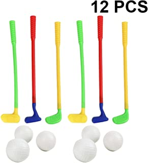 Garneck 儿童高尔夫俱乐部套装高尔夫球车 6 个球,6 个彩色高尔夫棒塑料高尔夫玩具年轻高尔夫球运动员运动玩具套件,适合儿童、婴儿、儿童