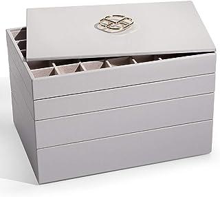 Vlando Miller 可堆叠首饰收纳盒带盖子,35 个插槽经典珠宝支架储物展示盒,适用于耳环项链或袖扣(灰色,新 5 合 1)