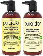 Pura D'or 生物素原始金标防掉发洗发水和护发素套装,经过测试的有效解决方案,含天然成分,适合所有发质,男女通用(包装可能有所不同)(2 x 16盎司/47