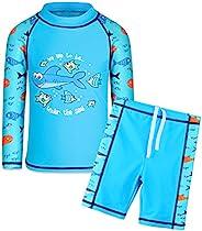 TFJH E 儿童男孩 UPF 50+ UV 泳衣 *长袖两件套泳衣 4-12 岁
