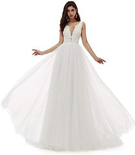 Ikerenwedding 女式 V 领 A 字型蕾丝薄纱长款海滩婚礼礼服