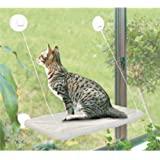 PETPAWJOY 猫床,猫窗台座椅吸盘节省空间的猫吊床宠物休息座椅*猫架 - 为重达 30 磅的猫咪提供* 360…