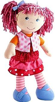 Haba 302842 娃娃 Lilli-Lou(莉莉.洛),可愛的軟布娃娃,穿衣有發,30cm,適用于18個月以上兒童