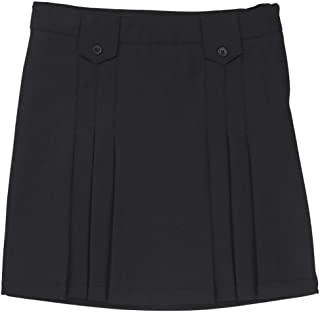 French Toast 前褶裙带标签女孩黑色
