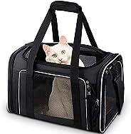 Comsmart 猫运输机,宠物运输机,航空公司批准的宠物运输袋,可折叠 15 磅(约 6.8 千克)狗狗运输笼,适用于小型中型猫狗幼猫 - 黑色