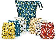 Simple Being 可重复使用布尿裤 - 双衬布 - 6 件装口袋可调节尺寸 - 防水罩 - 6 个插件 - 湿袋(男孩动物)