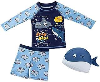 婴幼儿男孩 2 件套泳衣 UPF 50+ *泳衣套装带遮阳帽 + FBA