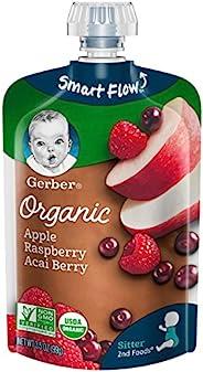 Gerber 嘉宝 Organic 2nd Foods 婴儿食品,苹果,山莓和巴西莓,3.5盎司,99克,袋装,12包