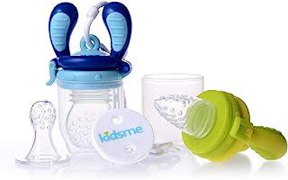 Kidsme 4个月起婴儿辅食喂食器 MOGUFFY *套装 【日本正品】 辅食器主体/*3种/带防掉落支架 酸橙色/海蓝宝石
