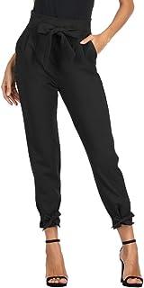 GRACE KARIN 女式休闲纯棉长裤高腰铅笔裤