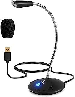NexiGo 电脑麦克风,带静音按钮和可调节鹅颈,降噪,桌面麦克风,适用于 Windows Mac 笔记本电脑台式机,流媒体,缩放,YouTube,Skype (黑色)