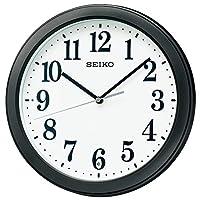 Seiko 精工 挂钟 01:黑色 金属机身 尺寸:直径28×4.8 cm 无线电波模拟 紧凑尺寸 BC404K