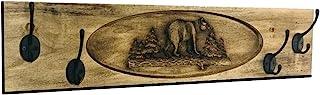 BlueRidge 谷仓大衣架壁挂式,熊雕刻外套挂钩,独特,木质,墙壁装饰美国制造