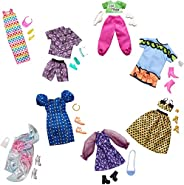 Barbie 芭比服装多件装,含 8 件完整的芭比娃娃套装,25 件以上包括 8 件服装、8 双鞋和 8 件配件,3 至 8 岁儿童的礼物