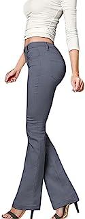 Hybrid & Company 女式修身喇叭剪裁弹力裤
