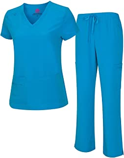 M&M Scrubs 女式凉爽弹力 V 领上衣和工装裤套装 8400-9400