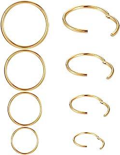 鼻环环环套钛*不锈钢隔膜环小软骨穿孔环可爱薄唇环 20g/18g/16g 银色/黑色/金色, 金属, 无宝石,