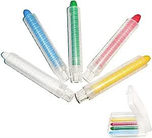 5 件塑料透明粉笔支架套装适用于教师学校办公室儿童易储存粉笔夹带收纳盒和可水洗粉笔(白色/蓝色/黄色/*/红色)