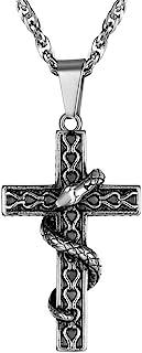 DOLLRINBOY 哥特式项链女士男士,不锈钢项链带动物大象花蛇吊坠