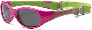 RKS 美国 防紫外线男童女童宝宝儿童太阳镜 附可拆卸镜带建议4岁以上(探险者)粉色+绿色