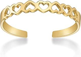 Lavari Jewelers 10k 金色可调节露趾戒指经典均码适合大多数脚趾 3mm