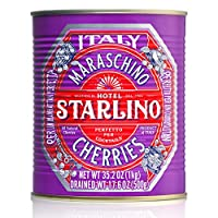 Starlino Italian Maraschino Cherries 1kg Tin | Alcohol Free | Perfect for creating premium cocktails at home | Make delicious desserts | Makes a perfect gift |