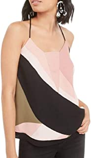 Bar III 女式拼色层叠下摆吊带背心 S 码 - 粉色 多色