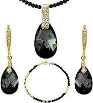 黑色水晶链和黑滴首饰套装 - 金色调 - 施华洛世奇元素水晶 - 项链耳环手镯