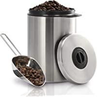 Xavax 咖啡罐 适用于1公斤咖啡豆(密封咖啡豆容器,带咖啡铲,不锈钢芳香罐,储存罐)银色