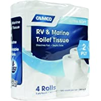 Camco RV Bathroom Toilet Tissue - 4 Rolls Sewer-Safe, Septic…