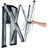 Brabantia WallFix 壁挂式可伸缩晾衣架 带雾面钢存储盒,24 米 - 银色