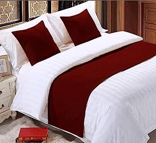 纯色跑步围巾装饰大号双人床床裙紫红色(48.26 厘米 X 259.08 厘米)
