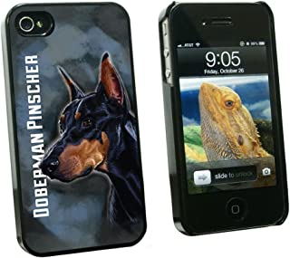 Graphics and More Doberman Pinscher 黑色蓝色 - 宠物狗 - 卡入硬质保护壳,适用于 Apple iPhone 4 4s - 黑色 - 便携包 - 非零售包装 - 黑色