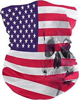 美國國旗與人類頭骨面罩綁腿頭巾魔術頭飾圍巾運動頭帶 巴拉克拉瓦斯