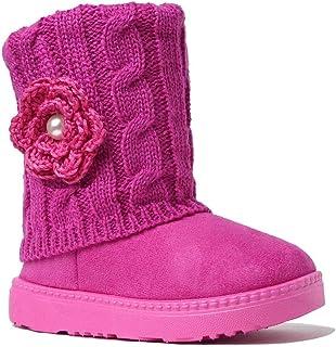 REDVOLUTION 儿童靴女童可爱花朵麂皮针织雪地靴 |