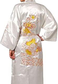 中国男士丝绸缎刺绣和服长袍 龙(白色,XXXL)