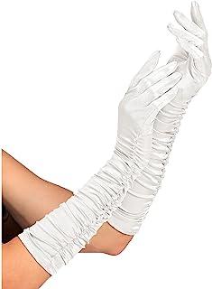 Widmann 34312 – 褶皱缎面手套,含氨纶成分,白色,1对,长度44厘米,配件,20年代,主题派对,嘉年华