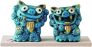 Ale-net 风水立式狮像 冲绳名物 蓝色 提升工作运&学习运 陶器 濑户烧